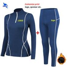 Sport-Suit Running-Set Custom-Logo Yoga Gym Fitness-Workout Woman Winter Elastic Fleece