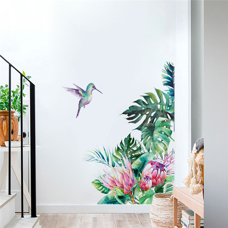 Цветы наклейки на стену кровать украшение птичка для домашнего декора DIY настенные наклейки для спальни ТВ диван леди подарки