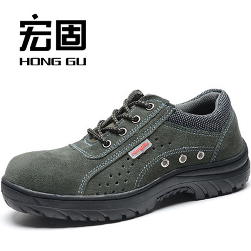 Army Green Suede Cowhide Safety Shoes Breathable Anti-smashing And Anti-penetration Anti-slip Rubber Bottom Mesh Protective Shoe