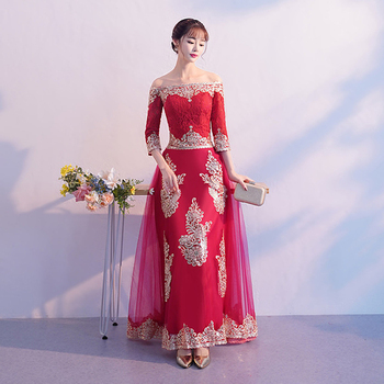 Chinese cheongsam toast clothing bride evening dress wine red modern wedding sexy dress skirt female party long evening dress