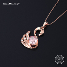 Shipei 100% 925 Sterling Silver White Gold Rose Sapphire Ruby Citrine Swan Pendant Necklace for Women Birthday Gift