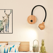 Modern Wood LED Wall Lamps With Knob Switch 3W AC90-260V Bedroom Bedside Reading Light Direction Adjustable Indoor Bath Light