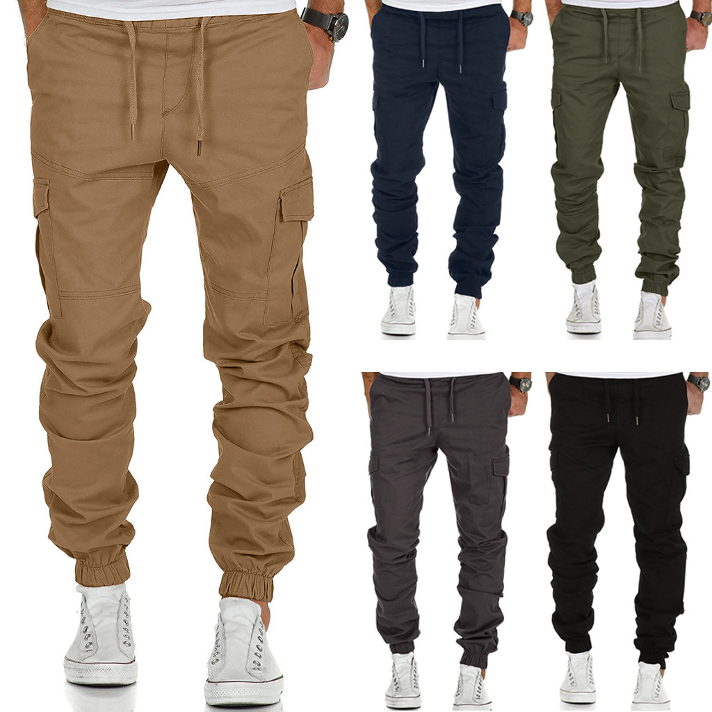 Dropshipping Casual Tops Plus Size  Fashion Fashion Men's Sport Pure Color Bandage Casual Loose Sweatpants Drawstring Pant  Wo M