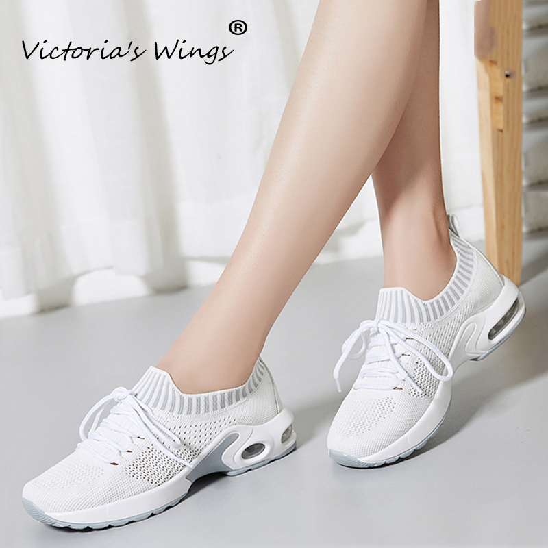 Hot Sale Victoria's Wings Women's Flat Sneakers 2020 Autumn Breathable Mesh Fly Knit Walking Shoes Lace Up Flats Creeper Lady Outdoor