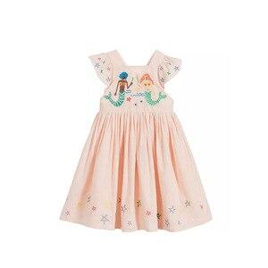 Летнее платье для маленьких девочек; Новинка 2020 г.; Платье на бретелях из чистого хлопка для девочек; Милое платье принцессы с вышивкой в вид...