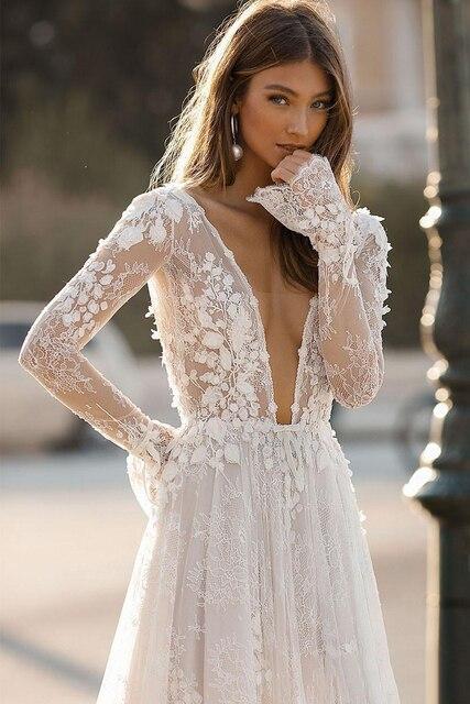 Wedding Dresses Deep V Neck Backless 2021 Elegant Berta 3D Floral Lace Appliques Beach Bridal Gown Custom Robe De Mariee 3