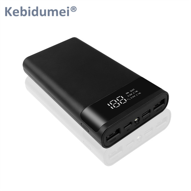 Kebidumei Dual USB Micro USB Type C Power Bank Shell 5V DIY 6*18650 Case Battery Charge Storage Box Without Battery 1