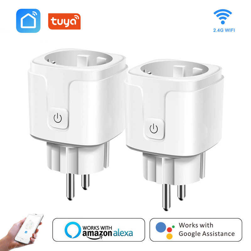 Smart Wifi Plug Adapter 16A Remote Voice Control Power Monitor Stopcontact Timing Functie Werk Met Alexa Google Home Tuya