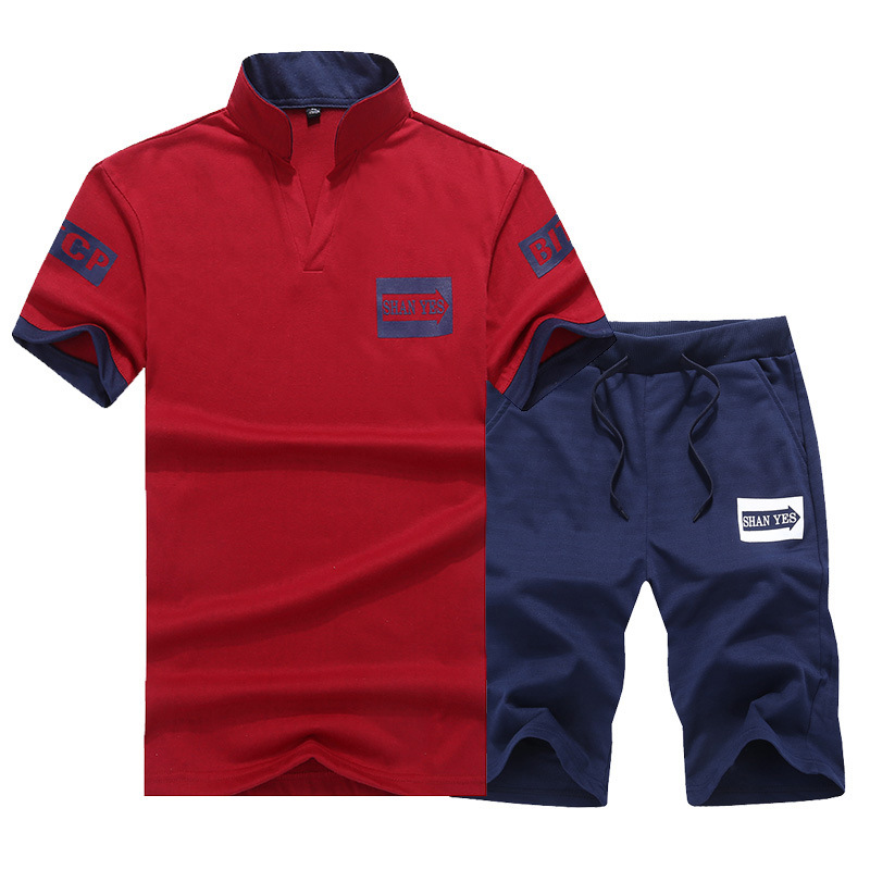 Summer MEN'S Sport Suit Slim Fit Two-Piece Set Teenager Shorts Short Sleeve T-shirt Korean-style Students Casual Wear