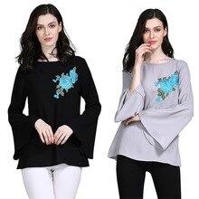 Shirt Clothing Blouse Tops Long-Sleeve Islamic Muslim Women Arab Dubai Flare And Embroidery