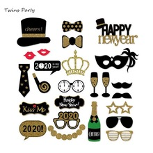 Twins 2020 New Year's Eve Party Card Masks Photo Booth Props Supplies Decorations  New Year Eve Party Christmas Decor Supplies стоимость
