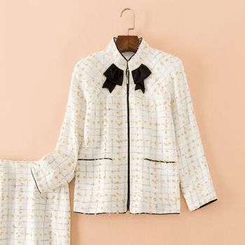 KoHuiJoo Women Two Piece Set Ladies Plaid Zipper Tweed Jacket + Skirt Sets Elegant High Street Fashion Clothing Sets 2 Pieces