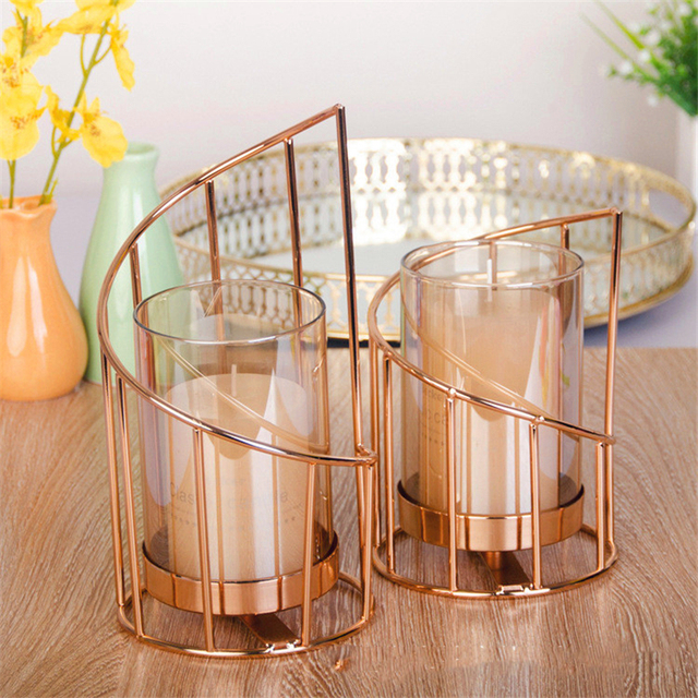 Golden Iron Candle Holder European geometric Candlestick Romantic Crystal Candle Cup Home Decoration Table Decoration 4