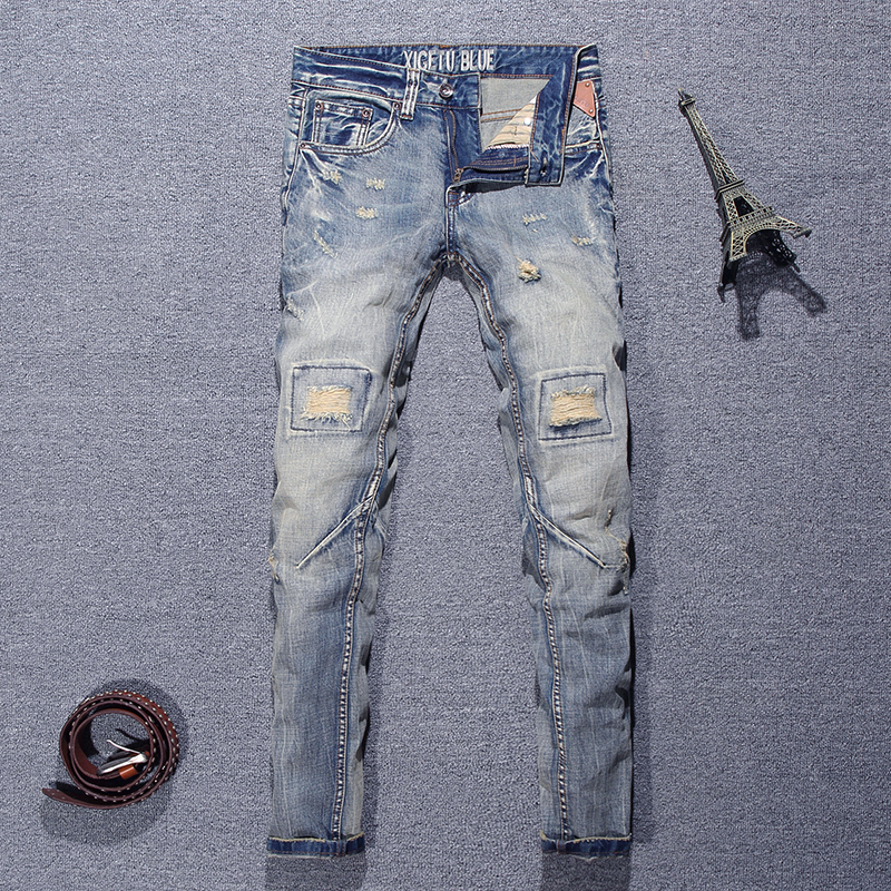 Fashion Streetwear Men Jeans Retro Destroyed Slim Fit Ripped Jeans Men Hip Hop Baggy Pants Spliced Designer Biker Jeans Homme