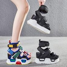 SWONCO Chunky Sandals Women Summer Shoes High Top Belt Bucke