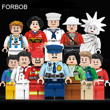 12 шт. совместимые Legoing друзья для девочек фигурки пожарные Статуя Свободы пирата шеф-повара учительницы Мальчик Дети фигурки Набор