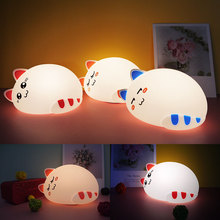 silicone Led lamp kid night light decoration lamp usb charging light silicone cat lamp sleeping room bedroom lamp gift for baby