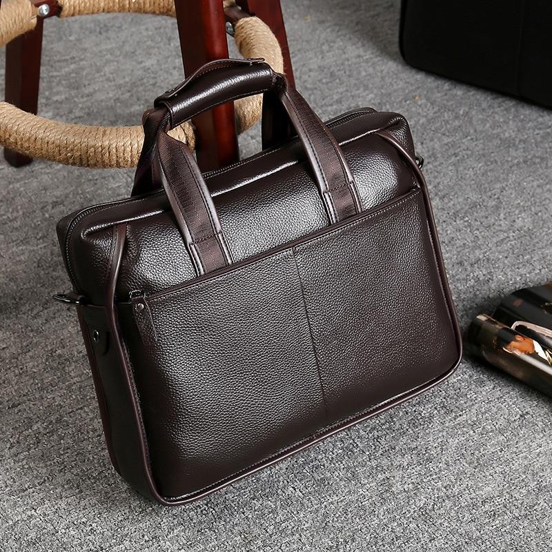 Luxury Men Vintage Genuine Leather Briefcase Business Laptop Bags Men Designer Handbags Messenger Bag High Quality Bolso Hombre