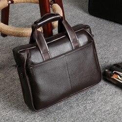 Luxus männer vintage echtem leder aktentasche business laptop taschen männer designer handtaschen messenger tasche hohe qualität bolso hombre