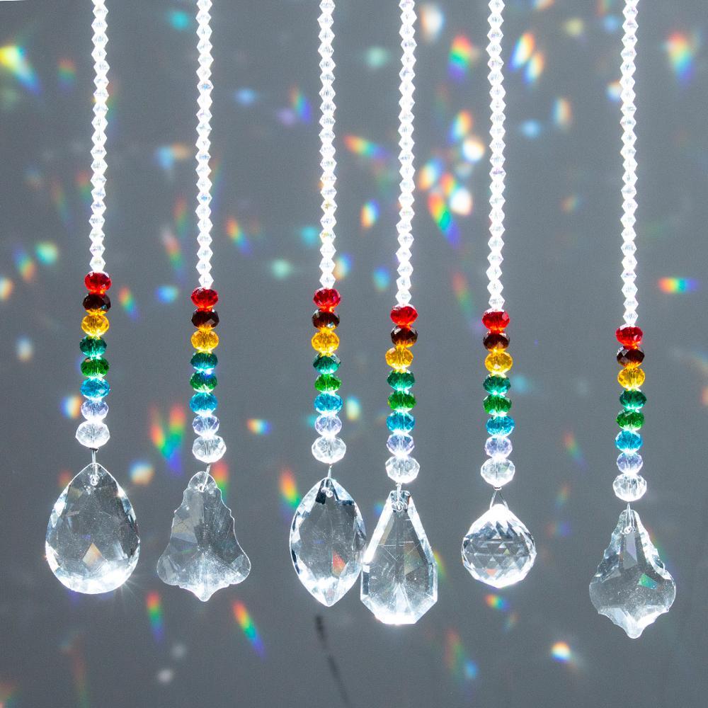 H&D 6pcs Crystal Ball Prisms Suncatcher Rainbow Collection Chakra Round Beads Pendant Window Hanging Ornament Home Wedding Decor