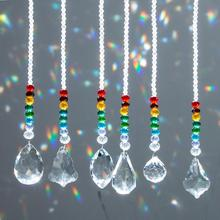 H&D 6pcs Crystal Ball Prisms Suncatcher Rainbow Collection Chakra Round Beads Pendant Window Hanging Ornament Home Wedding Decor