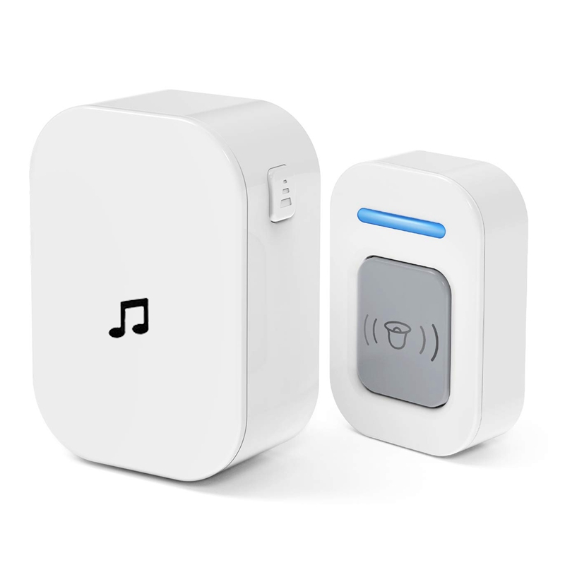 Wireless Doorbell 5 Volume Levels Led Flash Door Bell For Home,Classroom,Bedroom,Office Etc.Eu Plug