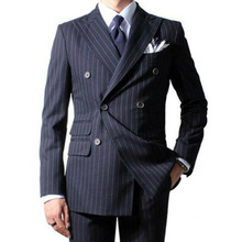 Jacket Pant Blue-Suit Custom Wedding Formal Business Vest 3pieces Navy Striped Navy