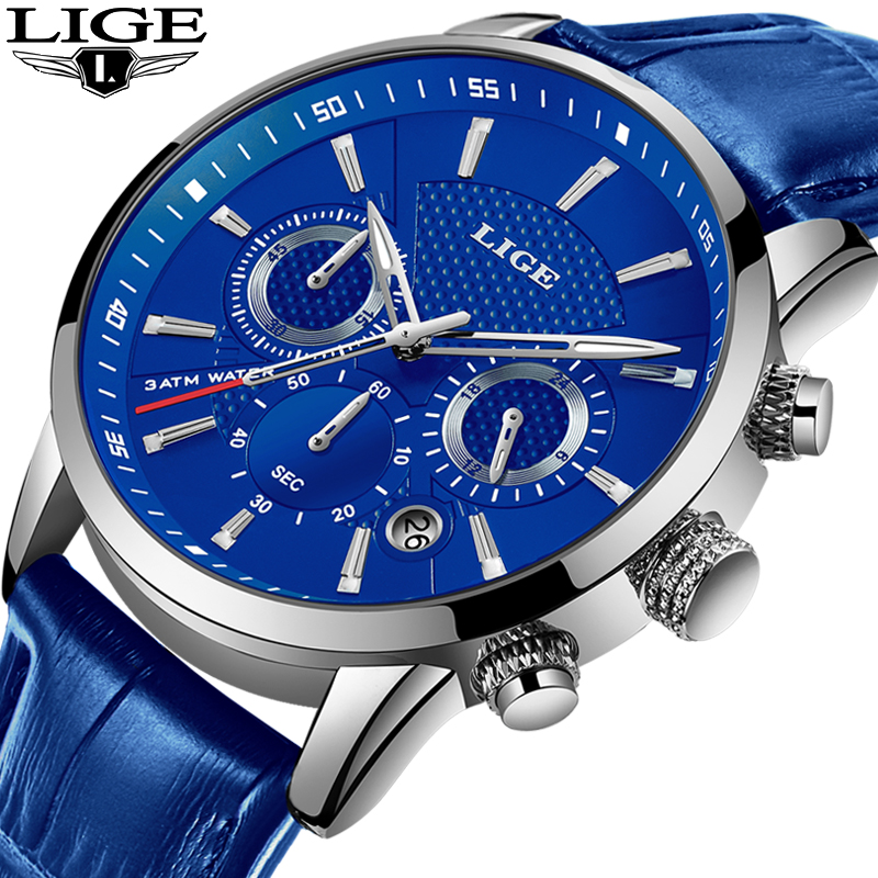 LIGE Fashion Mens Watches Top Brand Luuxury Blue Quartz Clock Male Casual Leather Waterproof Sport Chronograph Relogio Masculino