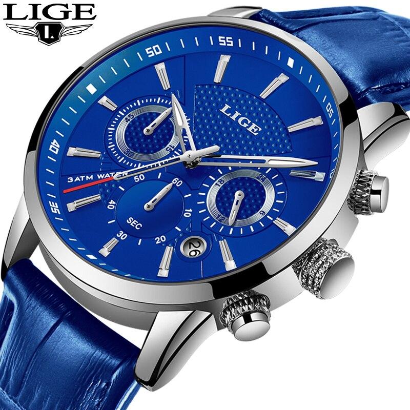 LIGE Mode Herren Uhren Top Marke Luuxury Blau Quarz Uhr Männlichen Casual Leder Wasserdichte Sport Chronograph Relogio Masculino