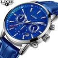 LIGE mode hommes montres haut marque Luuxury bleu Quartz horloge mâle décontracté en cuir étanche Sport chronographe Relogio Masculino