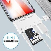 5 En 1 SD tarjeta TF de cámara kits de conexión para Lightning a USB Cámara lector adaptador OTG Cable para iPhone 7 8X6 para Ipad Air