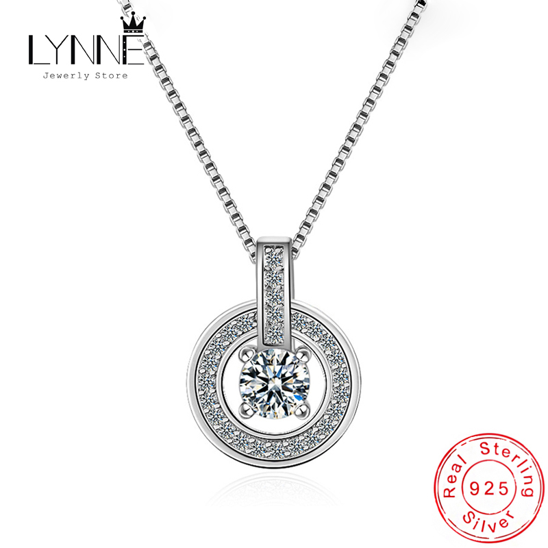 New Fashion 925 Sterling Silver Round AAA Zircon Pendant Necklace Dance Dazzling Rhinestone CZ Drop Necklaces Women Jewelry Gift