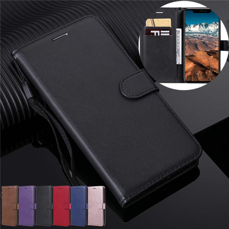 Flip Wallet Case For <font><b>iPhone</b></font> 11 Pro Max Xs Xr X 5 5S SE <font><b>6</b></font>/6S/7/8 Plus Case Retro Soft Silicone <font><b>Leather</b></font> Stand <font><b>Cover</b></font> With Lanyard image