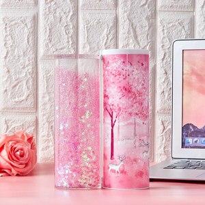 Image 2 - Newmebox Pink Pencil Case Kawaii Fallen Flower Pen Box School for Girl Plastic Stationery Romantic Cherry Blossom Back To School