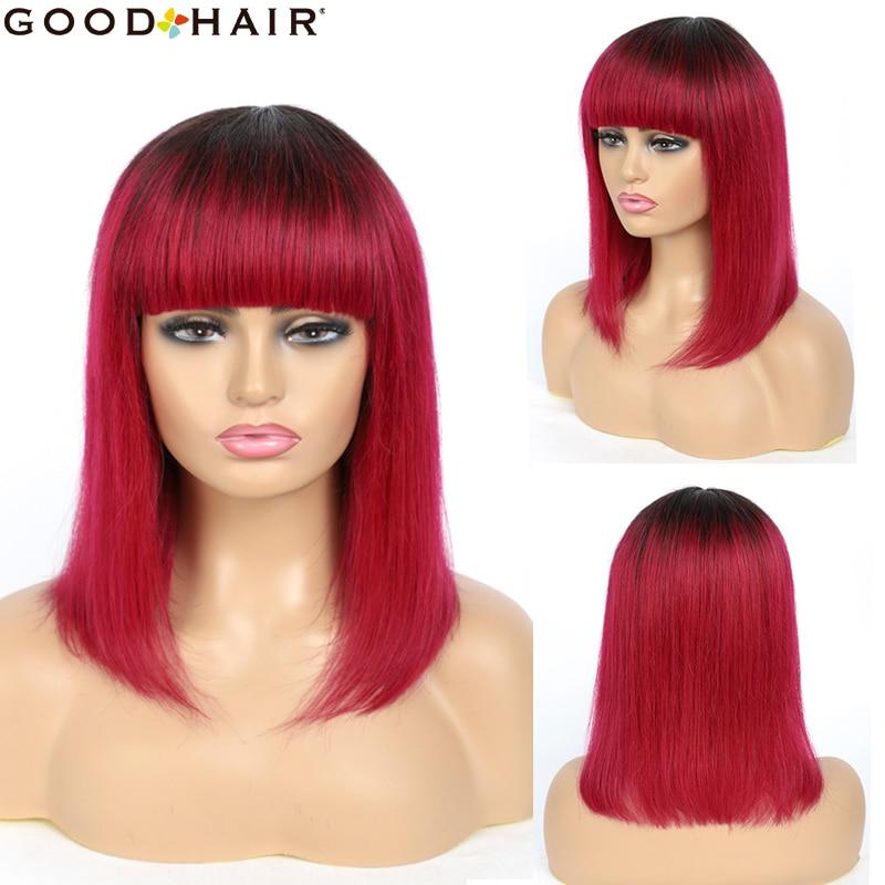 ombre vermelho curto bob peruca com franja 04