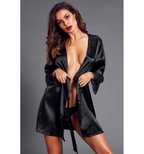 Ladies Nightgown Long Sleeve V-neck NightdressX Mini Women Sexy Solid Lace Silk Nightdress