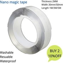 2mm 1m/2m/3.0m/5m super ligação dupla face adesivo transparente nano fita impermeável gekkotape nanotape dubbelzijdige