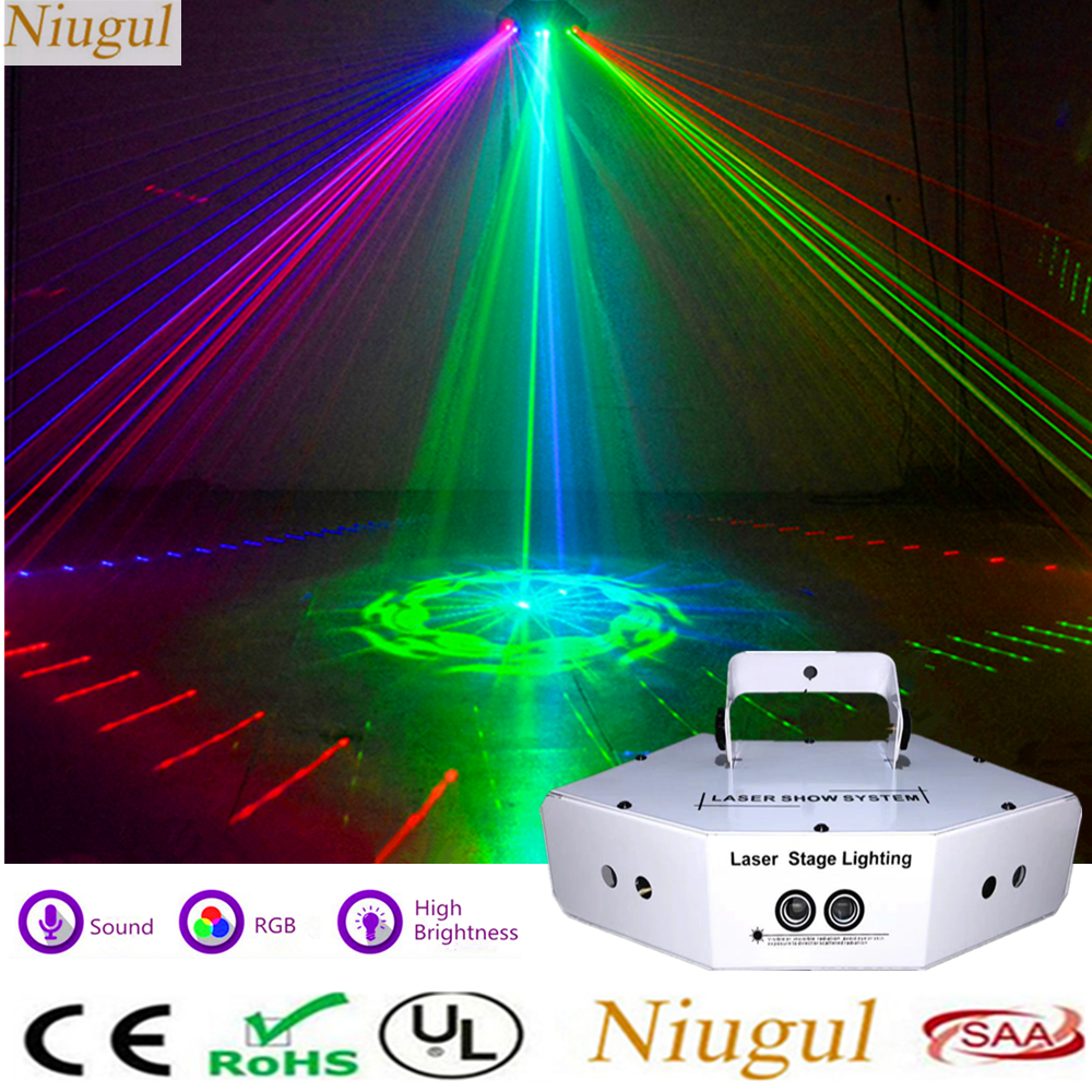 6 Lens RGB Scan Laser DMX512 Linear Beam With 16 Patterns Scanner Light Home Party Show DJ KTV Disco Sector Laser Stage Lighting