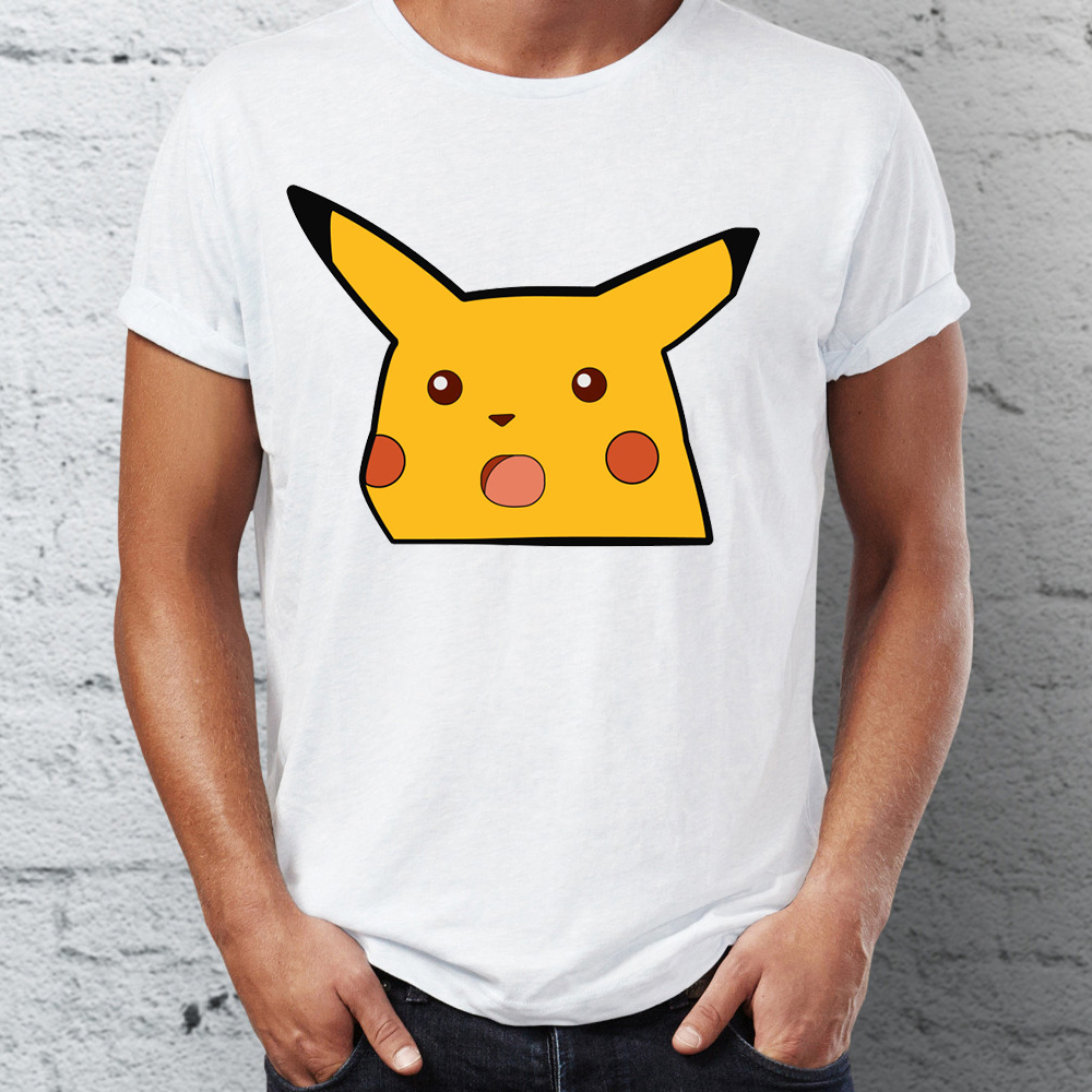 Brand New Men T Shirts 100% Cotton Surprised Pikachu Pocket Tee Shirts Oversize Funny Meme Awesome Artwork Printed Tee Shirts