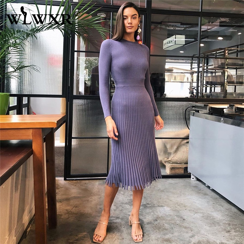 WLWXR Autumn Winter Casual Bodycon Dress Women 2019 A Line Ribbed Knitted Sexy Dress Ladies Wrap Cerebrity Elegant Party Dresses