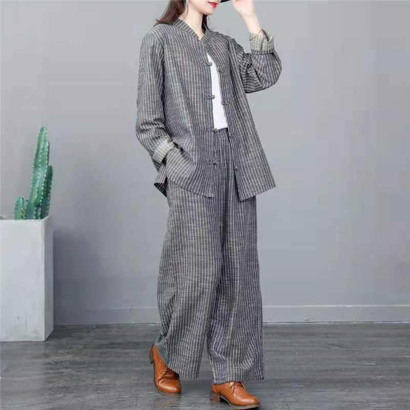 Retro Suits Loose Large Size Stripe Stand Collar Long Sleeve Jacket + Cotton Linen Trousers Women Tops Pants 2 Piece Set F2819