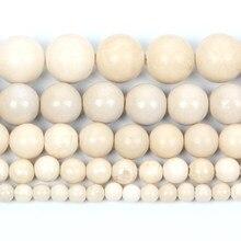 Pedra natural bege imitação fóssil charme redondo grânulos soltos para fazer jóias needlework pulseira diy strand 4-12mm