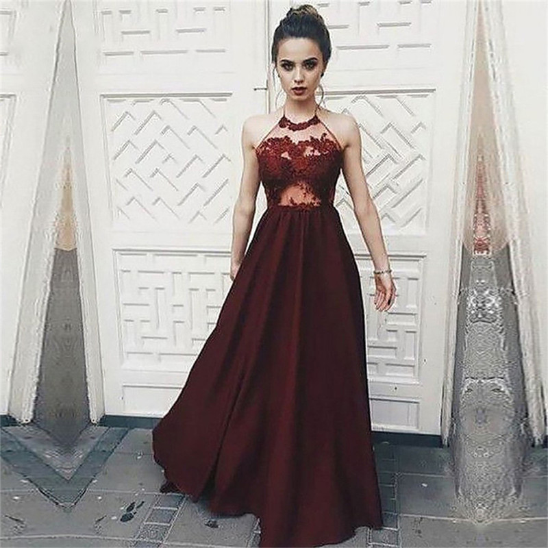Halter Burgundy A-Line Prom Dresses Lace Appliques Sexy Backless Custom Made Formal Special Occasion Party Gowns Simple Spring