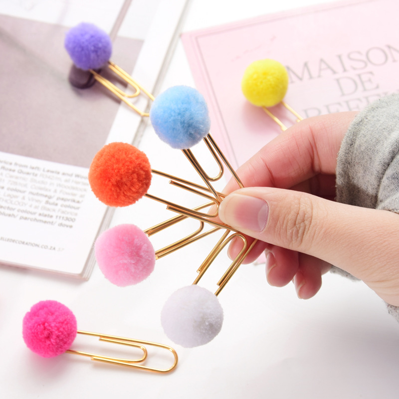 Colorful Cute Hairball Rose Gold Cilp Modelling Paper Clip Fashion Business Office Lady Style Office Stationery Set