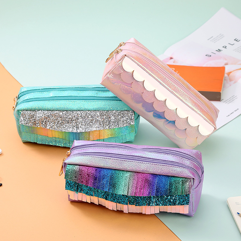 New PU Girls Large Capacity Pencil Case Double Zipper Sequin Pencil Bag Laser Pencil Box Cosmetic Bag School Supplies Stationery
