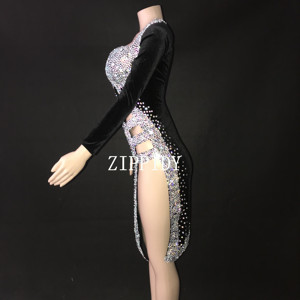 Image 3 - Sexy Silver Stones Black Latin Dance Dress Outfit  Stage Wear Sparkly Rhinestones Costume Birthday prom show Stretch Dress