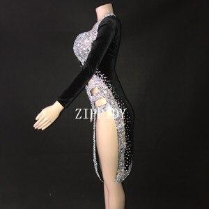 Image 3 - เซ็กซี่เงินหินสีดำชุดเต้นรำละตินชุดเวทีสวมใส่ Sparkly Rhinestones เครื่องแต่งกายวันเกิดพรหมแสดงยืด