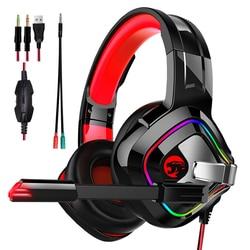 Игровые наушники JOINRUN для PS4, стерео наушники RGB шатер, гарнитура с микрофоном для нового геймера Xbox One/ноутбука/ПК, планшета