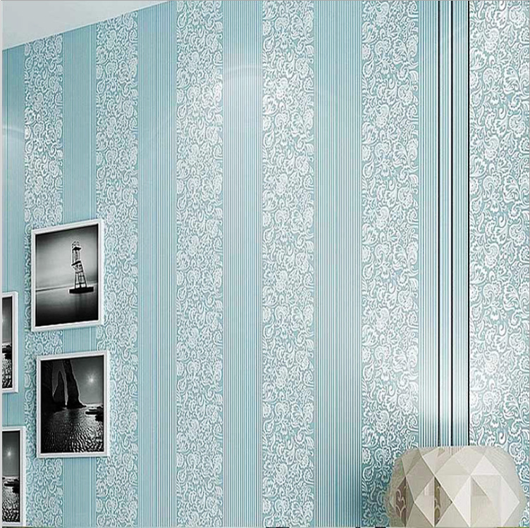 Simple European Style Vertical Striped 3D Non-woven Wallpaper Bedroom Warm Restaurant Wall Wallpaper Pink Beige