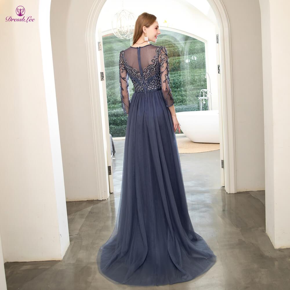 DressbLee New Long Prom Dress Crystal Pearl Hand-Beaded Dubai Prom Dresses Full Sleeves Formal Party Gown vestido-de-festa
